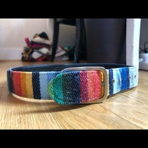 Vintage rainbow denim belt